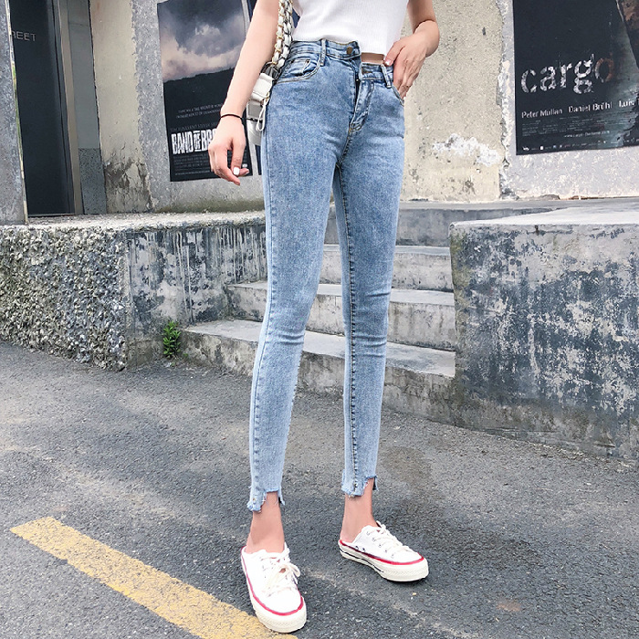 Photo Shoot # New Style Capri Jeans Students High-waisted Slim Fit Elasticity Slimming Skinny Pants INS Pencil Pants Women's