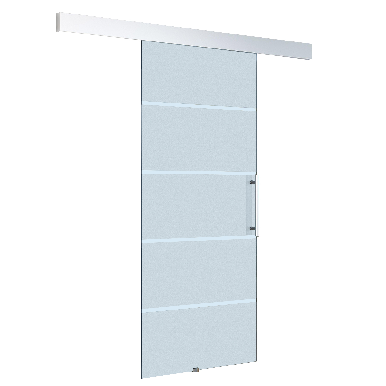HOMCOM Sliding Door Interior Frosted Glass with Track and Handle for Bathroom Kitchen Study 205x77.5x0.8 CM image