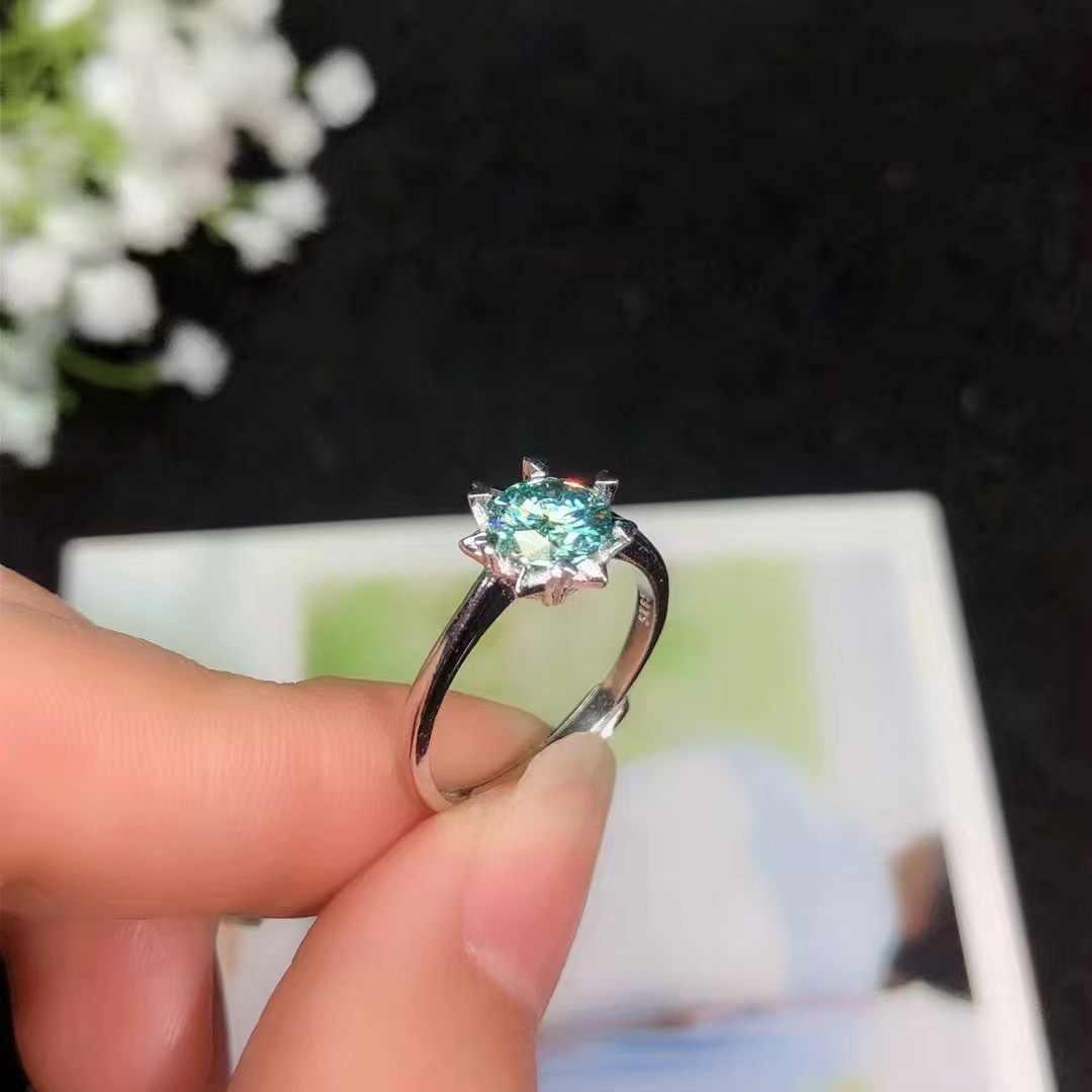 BOEYCJR 925 Silver 1ct/2ct Blue Moissanite VVS หมั้นงานแต่งงานแหวนเพชรแห่งชาติใบรับรองสำหรับสตรี