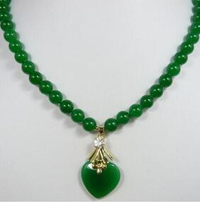 Noblest Lady's 8mm Green Natural Jade  Necklace 17 Inch + Heart Pendant
