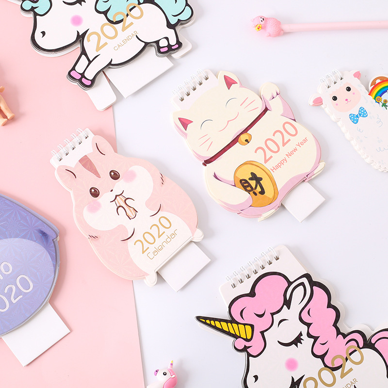 Year 2020 Unicorn Alpaca Hamster Desktop Paper Calendar Daily Scheduler Table Planner Yearly Agenda Organizer