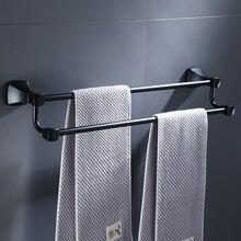 สีดำด้านคู่ผ้าเช็ดตัวผ้าเช็ดตัวห้องน้ำ Hanger Space อลูมิเนียมอุปกรณ์ห้องน้ำชั้นวางผ้าขนหนู