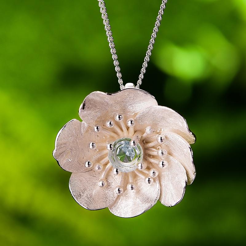 Image 4 - 蓮楽しい咲くアネモネ花ネックレスなしリアル 925 スターリングシルバー手作りデザイナー女性のためのペンダント   -