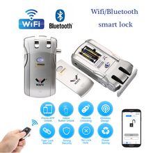 Wafu 019 무선 wifi 똑똑한 자물쇠 원격 제어 BT 전자 열쇠가없는 문 보이지 않는 자물쇠 433MHz 전화 통제 지문 자물쇠