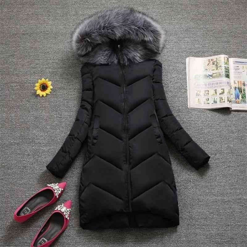 Plus größe S-7XL Frauen Oberbekleidung Große Pelz Mode Winter Mit Kapuze Mantel beiläufige Unten Parka Weibliche Winter Jacke Warme Lange Mantel