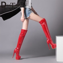 DORATASIA New Plus Size 33-48 Fashion Lady High Heels Platform Thigh High Boots Shoes Woman Patry Sexy Over The Knee Boots Women цены онлайн