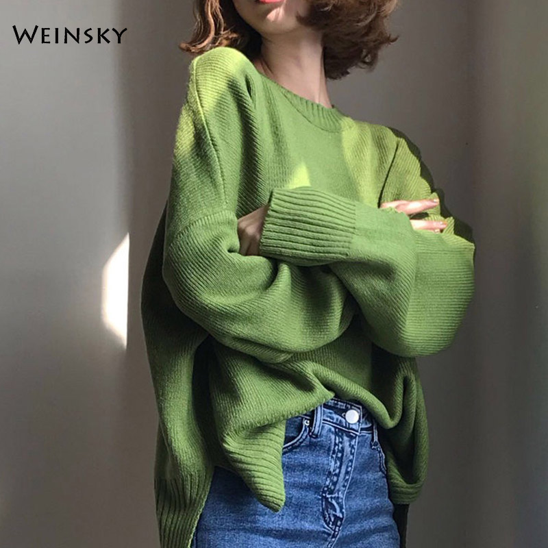 Women Oversized Knitted Sweater And Pullovers Korean Fashion Style O-Neck Solid Sweaters 2019 Autumn And Winter New Tops