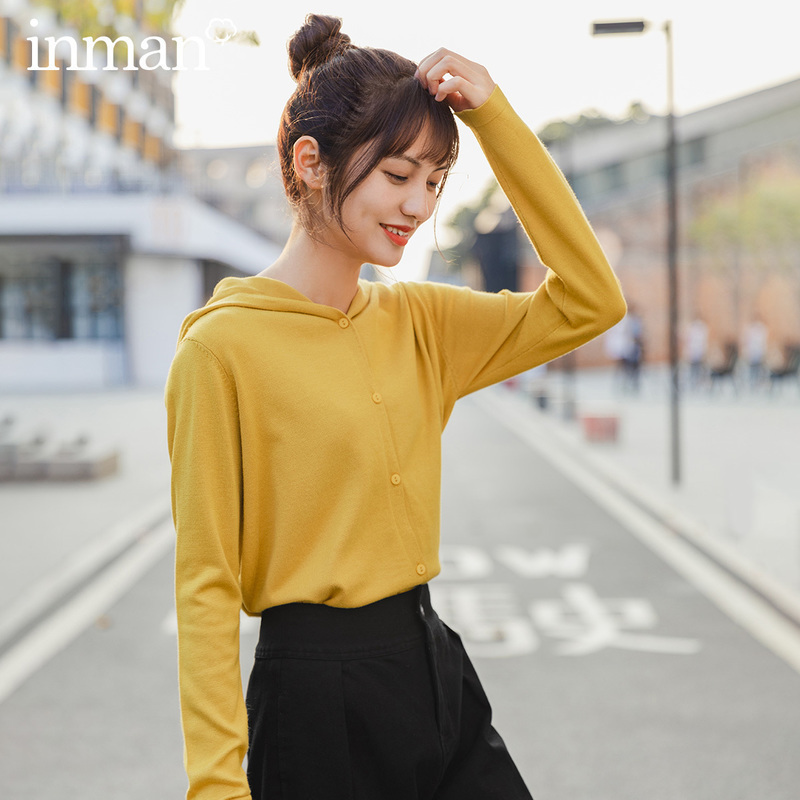 INMAN 2020 Spring New Arrival Literary Pure Color Hodded Single-breasted Loose Knitted Cardigan