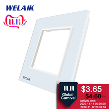 WELAIK EU Wall Switch DIY Parts Glass Panel Only Wall Light Switch Crystal Glass Panel Square hole  A18W/B1