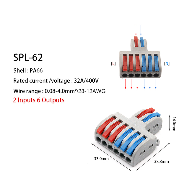 5/10pcs/Lot SPL-42/62 Mini Fast Wire Connector Universal Wiring Cable Connector Push-in Conductor Terminal Block DIY YOU 5