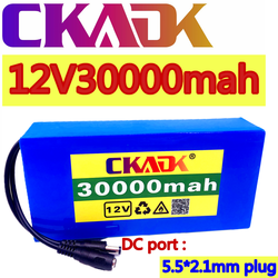 100% New Portable 12v 30000mAh Lithium-ion Battery pack DC 12.6V 30Ah battery With EU Plug