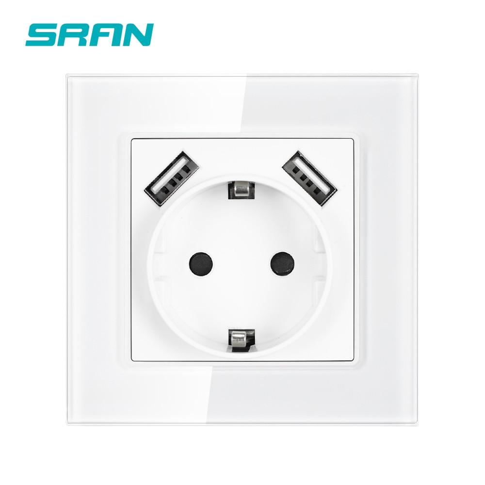 Стандартная розетка SRAN ЕС, розетка с USB-портом для зарядки 2.1A 16A, белая прозрачная панель, настенная розетка eu new F601-GR02W
