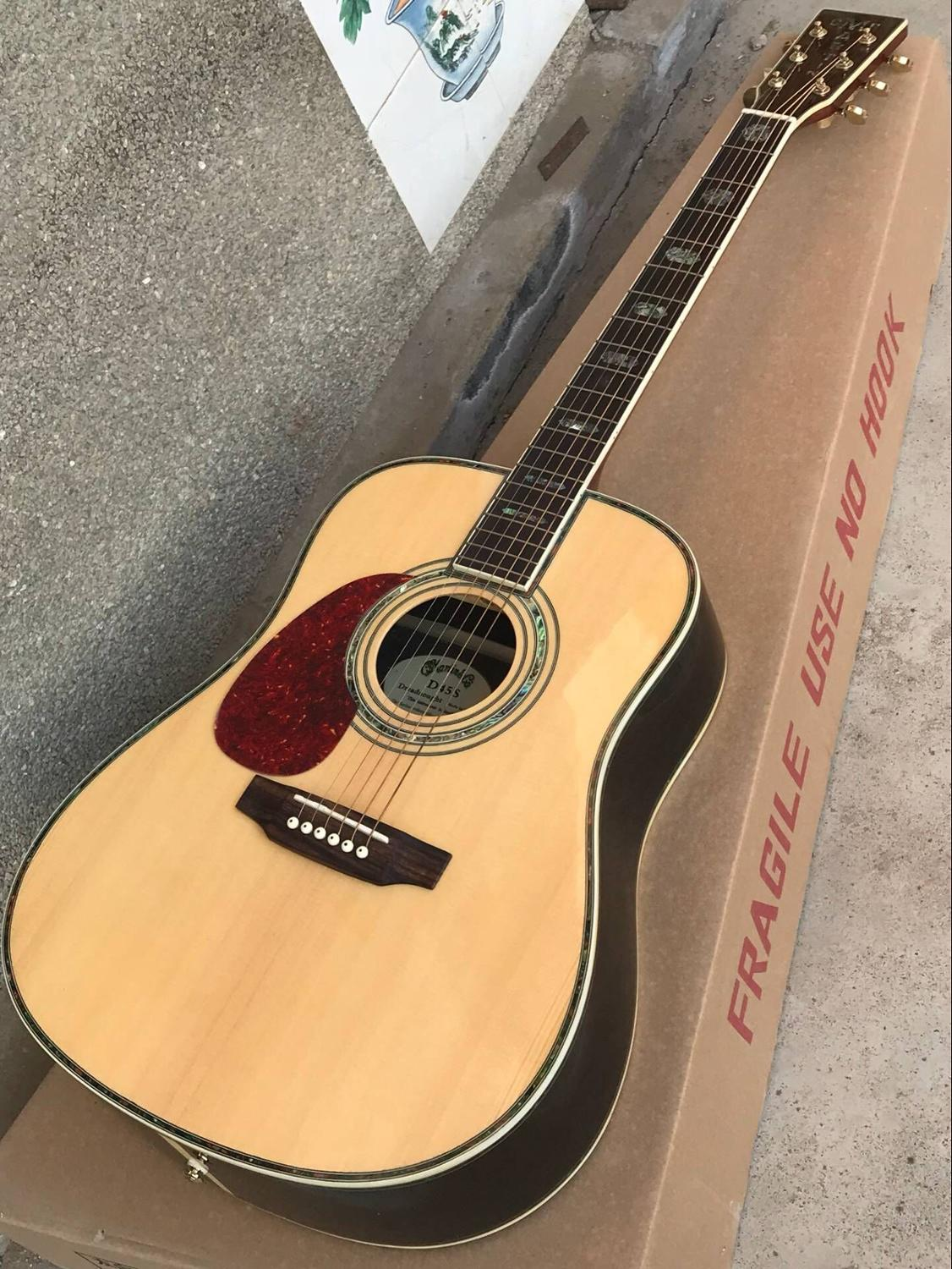 natural Solid Spruce top 41 inch Left hand classic acoustic Guitar D type 45 model 41 guitar Free shipping 8pai image