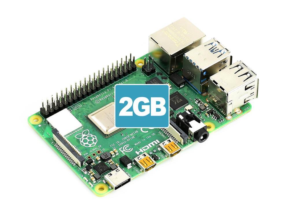 Raspberry Original Pi 4 modèle B 2GB RAM, prend en charge la double sortie 4 K, Gigabit Ethernet, Bluetooth 5.0, BLE, BCM2711B0 (ARM Cortex-A72)