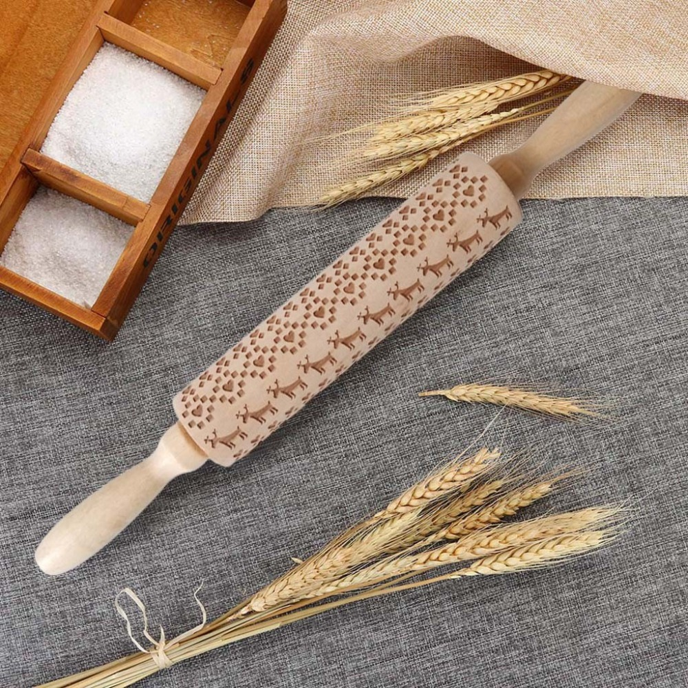 Textured Non-Stick Designs Wooden Embossed Rolling Pin for Cookies/Biscuit/Fondant Cake 9
