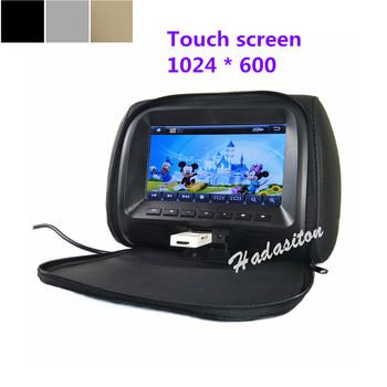 Uniwersalny 7 #8222 ekran dotykowy 1024*600 monitor montowany za zagłówkiem samochodu poduszka MP4 MP5 odtwarzacz obsługuje AV USB SD FM głośnik słuchawek tanie i dobre opinie Hadasiton 260x185x140 mm 7 car monitor MP5 Zagłówek Plastic Monitory samochodowe 1100g