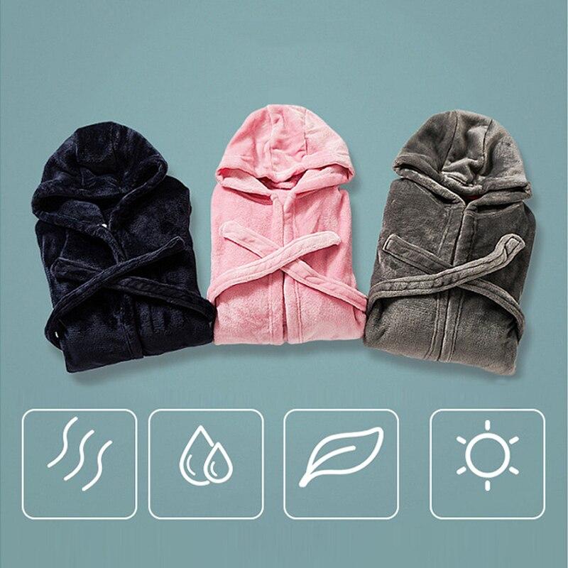 Kids Pajamas Bathrobe for Boys Girls Sleepwear Robe Soft Flannel Hooded Bathgown Winter Warm Nightwear Solid Color Baby Clothes 5