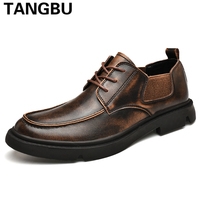High Quality Genuine Leather Men Work Shoes Lace Up Breathable Casual Oxfords Fashion Vintage Leather Shoes Men Plus Size 38 46
