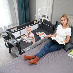 0-6 سنوات سرير بيبي الأوروبي للطي الاطفال السرير الربط لعبة كبيرة سرير الطفل متعددة الوظائف المحمولة مهد للأطفال حديثي الولادة
