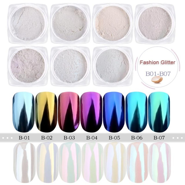 1 Box Pearl Nail Glitter Powder Neon Shimmer Mirror Mermaid Dipping White Purple Nail Chrome Pigment Dust Polish Decor GLB01-07 3