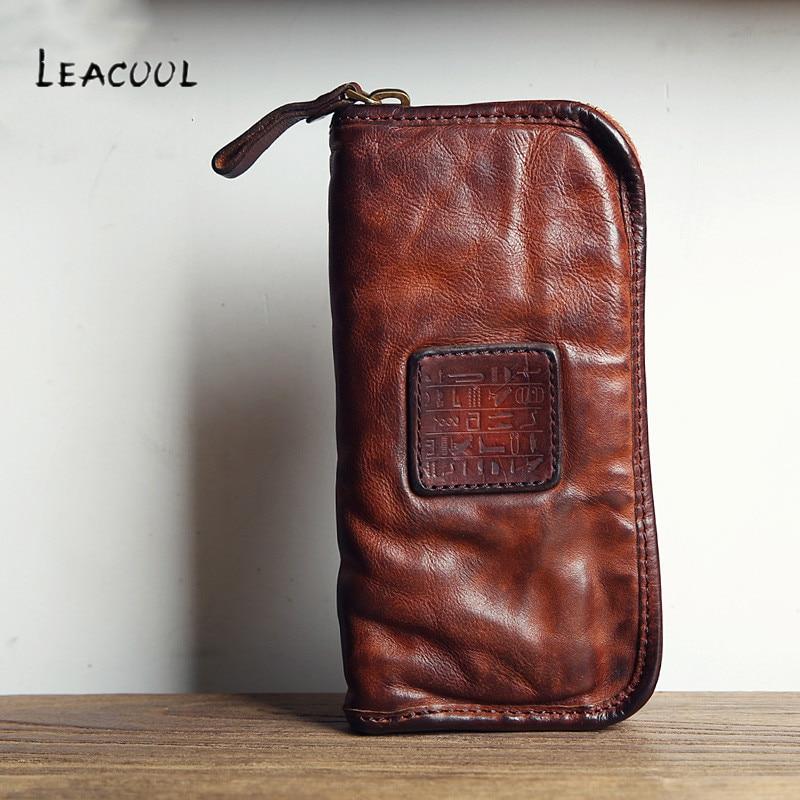 LEACOOL العلامة التجارية الرجال الفاخرة جلود الأبقار الأصلية حقيبة صغيرة رجل الأعمال حقيبة كبيرة قدرة البقر محفظة جلدية Bolsas الذكور-في محافظ من حقائب وأمتعة على  مجموعة 1