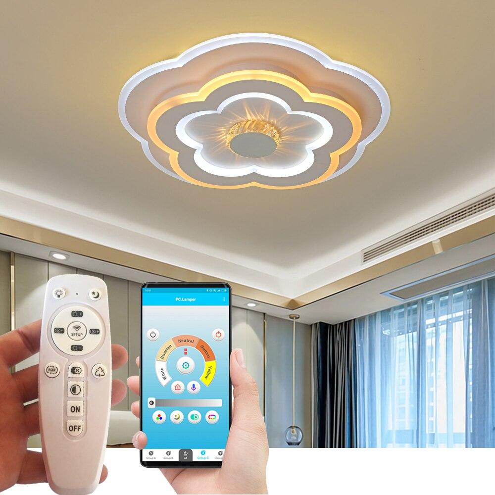 Современные светодиодные потолочные лампы, акриловые креативные светильники, Светильники для гостиной с дистанционным управлением, квадр...