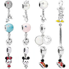 Mickey Teddy Mouse Elephant And Balloon Enchanted Tassel Pendant Charm Fit Pandora Bracelet 925 Sterling Silver Bead Jewelry(China)
