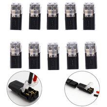 10pcs 2p Spring Connector Wire With No Welding Screws Quick Cable Clamp Terminal Block 2 Way Easy Fit For Led Strip
