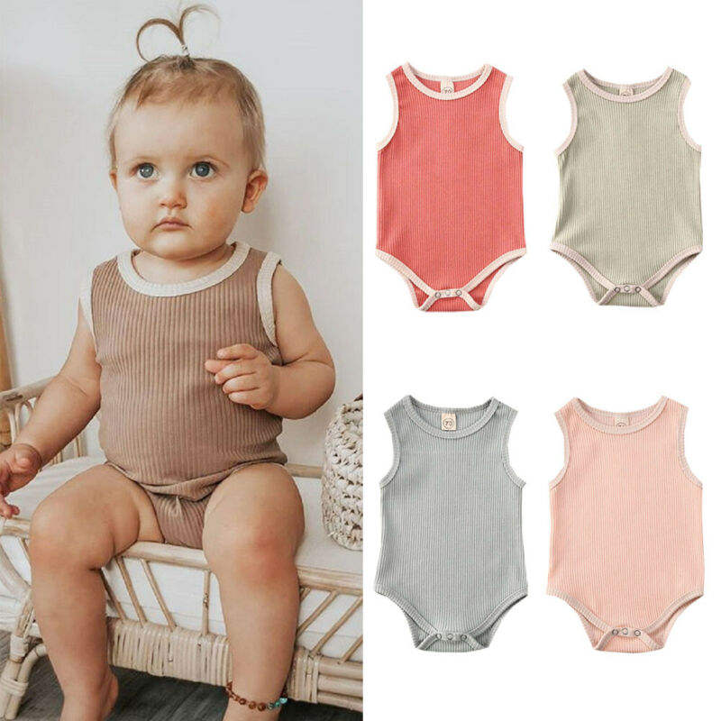 Toddler Summer Girl <font><b>unisex</b></font> Clothing One-Pieces <font><b>Body</b></font> suits <font><b>Baby</b></font> Boy Girl Clothes Sleeveless Jumpsuit Bodysuit 1Pc Outfit image