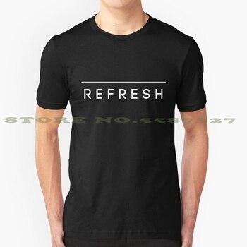 R E F R E S H (negro) verano divertida camiseta para hombres mujeres refrescar texto blanco negro Titantext Palabra vale la pena mensaje línea de moda