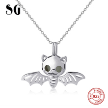SG New 100% 925 sterling silver bat chain necklace&pendant with glowing ball fashion jewelry making for women gifts цена