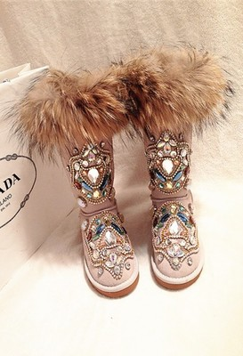 Botas de nieve personalizadas de piel de zorro de gama alta para mujer, botas de nieve 2019 de lujo con diamantes de imitación cálidas y cómodas de algodón Zapatillas de piel de cuero vacuno para hombre, mocasines, zapatos a la moda, calzado para conducir para hombre, zapato suave, mocasín para hombre