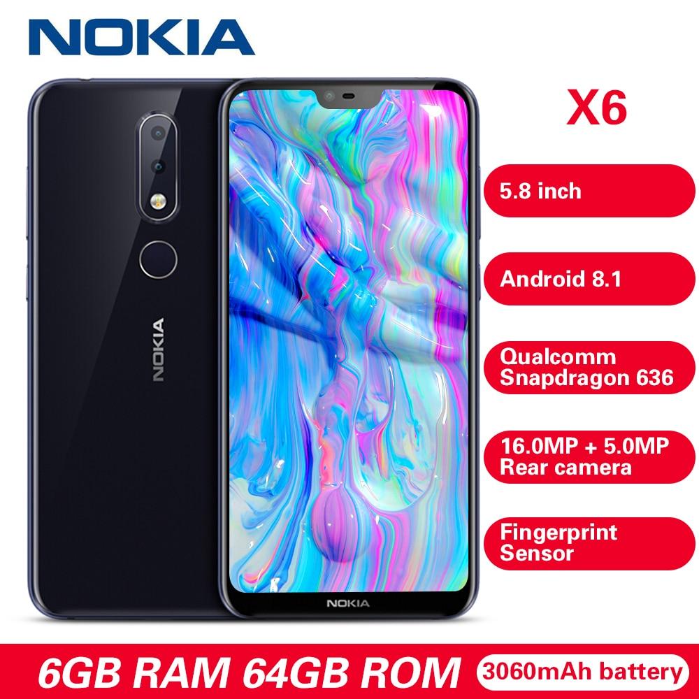 Nokia X6 4 Smartphone 5.8G 'Android 8.1 Snapdragon 636 Núcleo octa 6GB GB 16.0MP 64 Impressão Digital 3060mAh Tipo-C Celulares Azul Profundo