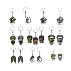 14 Style New Arrival AVP Alien Predator Keychain Predator Mask 3D Simulation Metal Key Chain Pendant Key Ring For Fans