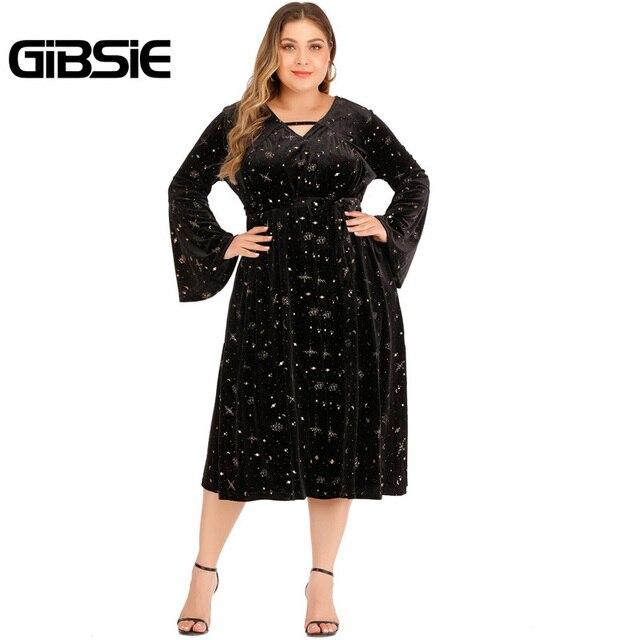 GIBSIE Autumn winter V-neck Print Velvet Dress Women Plus Size High Waist Long Sleeve Belt Midi Dresses Ladies Vintage Black 4