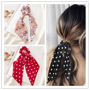 Bohemian Streamers Women Scrunchies Dot Floral Print Girl Hair Ties Knot Elastic Hair Bands Hair Rope Girls Hair Accessories