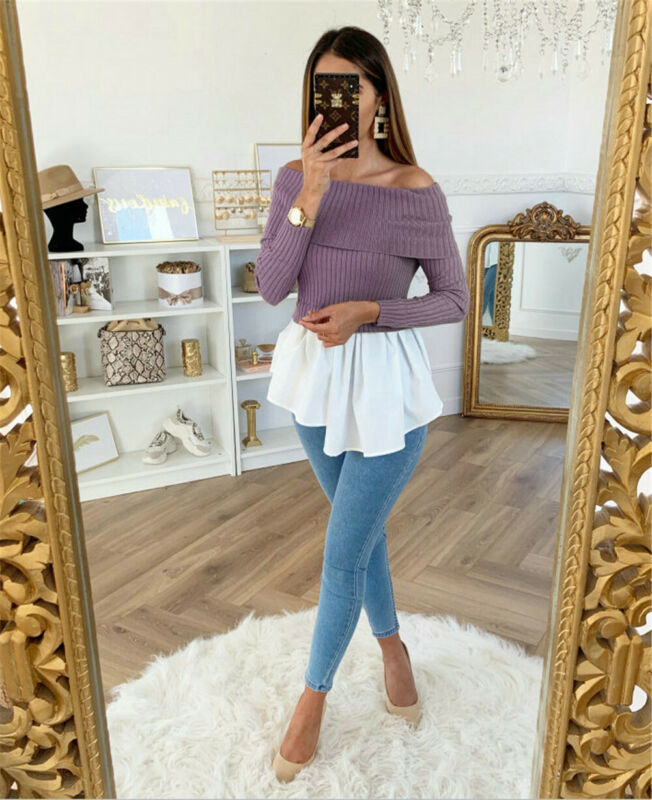 High Quality Fashion Casual Women's Clothing Female Solid Color Off Shoulder Knitted Sweater Ladies Winter Tulle Ruffle Pullover