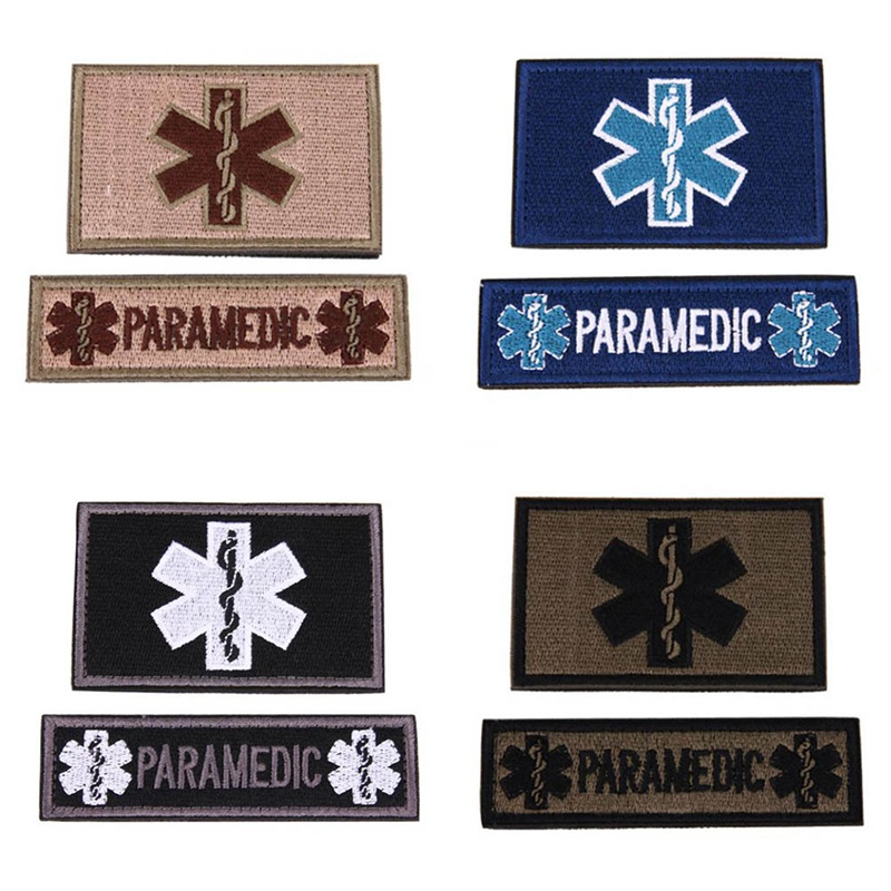 2 Pcs/Set Embroidery Patch Emergency Medical Technician PARAMEDIC EMT Embroidered Patches Military Tactical Armband Badge Badges