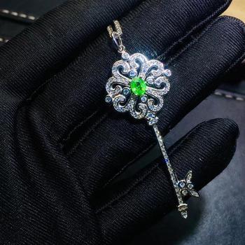 Restauración de la antigua llave de la Elegancia colgante de la gema de tsavorita natural colgante de granate verde natural collar S925 joyería de regalo de la muchacha de plata