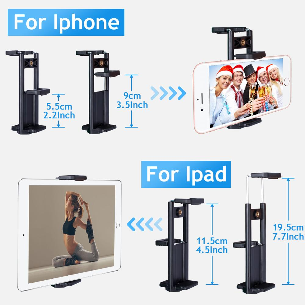 Phone Tripod 60-Inch with 2 in 1 Mount Holder & remote control for iphone/ipad/Gopro/DSLR Camera, with Carry Bag for Travel 1