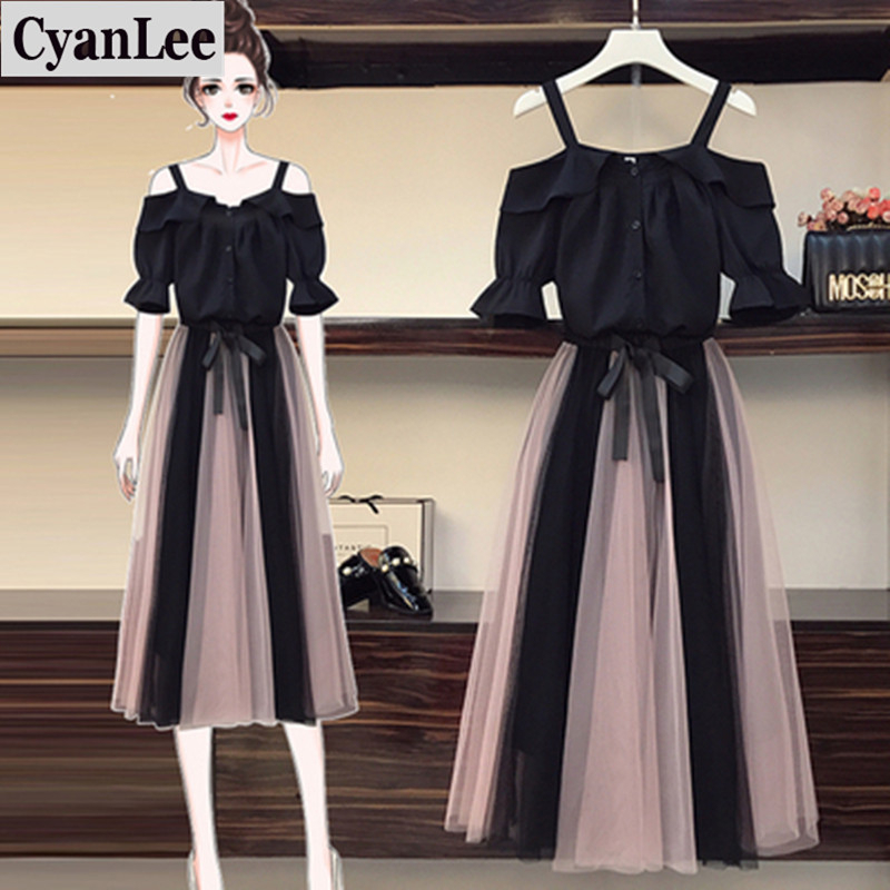 Elegant Two Piece Set Women's Sexy Shoulder Blouse Casual Mesh Drawstring Waist Long Skirt New Summer Girls Sweet Skirts Suit