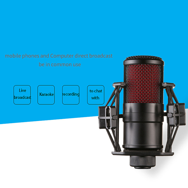 комплект микрофона с o кабелем ударопрочный зажим живой широковещательный фотография