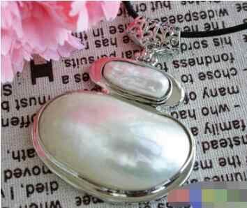 Nuevo 1016 + + + gran 48mm Mabe blanco perla keshi COLLAR COLGANTE media luna