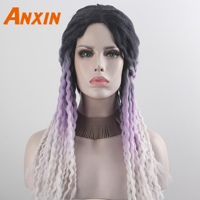 Anxin 2020 New Women Braided White Purple Gradient Wig High Temperature Silk Synthetic Bob Wig Daily Matching Cosplay Party Wig