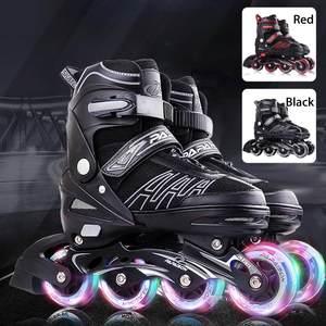 Patines de ruedas profesionales patines de ruedas niñas niños principiantes niños cuatro ruedas de una sola fila zapatos planos patines de Flash en línea patines