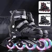 Professional Roller Skates Roller Skates Girls Boys Beginner Kids four Wheels Single Row Flat Shoes Flash Skates Inline Skates