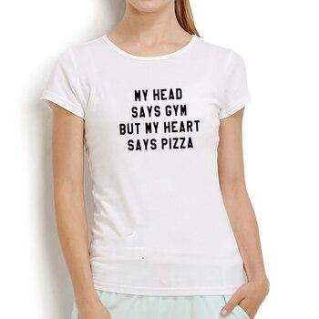 MY HEAD SAYS GYM Printed Short Sleeve T-shirt Women Summer O-neck Cotton T Shirt Women Casual Loose T Shirt Femme Black & White