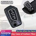 Metall Carbon Fiber Auto Schlüssel Abdeckung Fall Shell Faltbare 3 Tasten für Toyota Corolla E170 Camry 50 Mark X Keychain ring Zubehör-in Schlüsseletui für Auto aus Kraftfahrzeuge und Motorräder bei