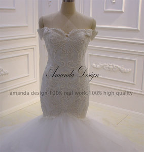 Image 5 - Amanda Design bruidsjurken Off Schulter Spitze Applique Meerjungfrau Hochzeit Kleid
