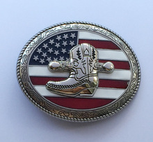 Oval Ancient silver Western Cowboy With Us Flag Belt Buckle